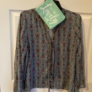 Maurices Sheer Lace-Up Front Dusty Teal Blouse